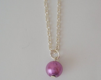 Lilac Pearl Drop Necklace, Pearl Drop Necklace, Birthday Gift, Teachers Gift
