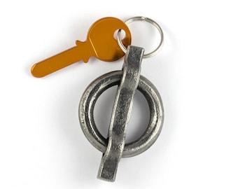 Blacksmith made design keychain - hand forged iron keychain - metal key fob, forged - iron gift - metal pendant - hand forged keychain