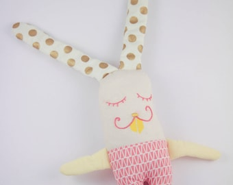 Bunny long ears with pink, yellow and gold tones