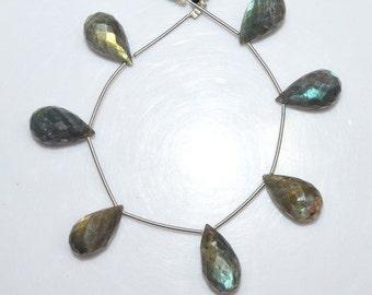 "Natural Labradorite Tear Drop Briolette - Labradorite Faceted Beads , Labradorite Briolette , 11x18 - 11x21 mm , 6"" - BL1427"