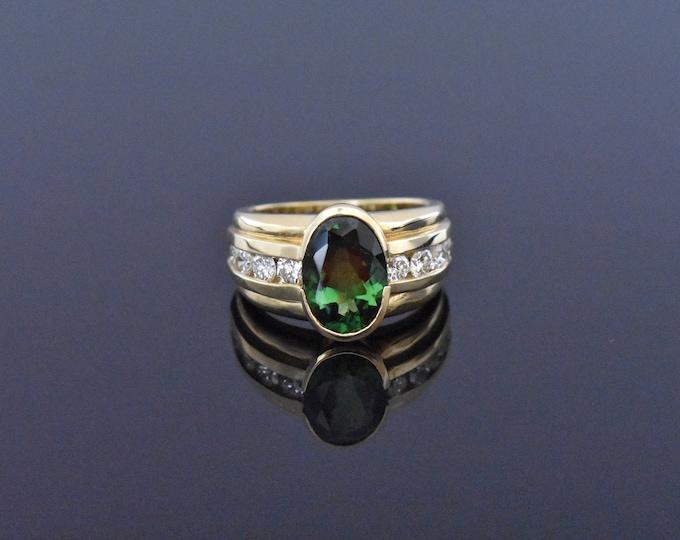 18K Gold Green Tourmaline & Diamond Ring | Natural Green Tourmaline |  Engagement Ring | Wedding Ring | Fine Jewelry | Statement Ring