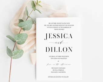 Calligraphy Wedding Invitation Template, Printable Wedding Invitation, Printable Template, Calligraphy Invitation, Custom Invitation Suite