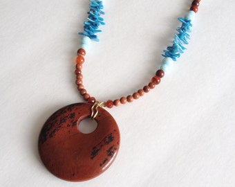 Brown Blue Necklace - Red Jasper Pendant - Statement Necklace - Red Jasper Blue Sea Bamboo Goldstone Crystals - Terra Cotta & Blue Necklace