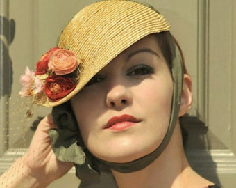 The June Bride Cocktail Hat - Cloche w/ Silk Ties & Flower Bouquet - Made to Measure