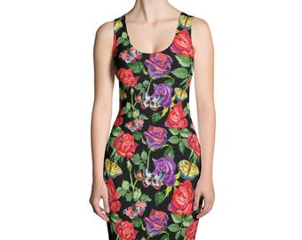 Black dress with watercolor roses and butterflies on it