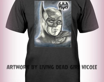 "Portrait T-Shirt : ""I Am Batman"" - Michael Keaton Adam West Gotham Batman Split Face"