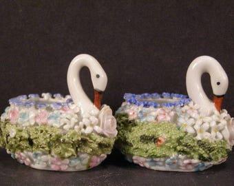 1800's Victorian Meissen Dresden German Porcelain Elfinware Spinach Swans Fairing