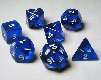 Blue Translucent Polyhedral 7-Die Set - 06403 - Crystal Caste
