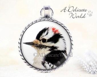 Downy Woodpecker Necklace - Woodpecker Pendant, Silver Bird Necklace, Black White Bird Pendant, Woodpecker Jewelry Pendant, Bird Jewelry