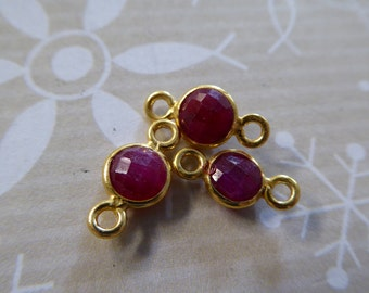 1-10 pcs, RUBY Gemstone Connectors Links, Bezel Set, 24k Gold Vermeil or Sterling Silver, 12x7 mm, july birthstone gcl5 gc ll