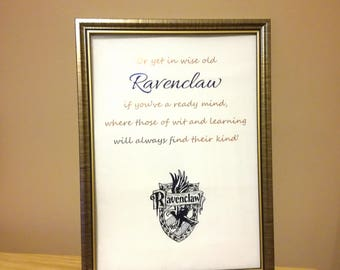 Harry Potter Ravenclaw Print - Ravenclaw Foil Print - Harry Potter Hogwarts House Art - Ravenclaw Emblem and Sorting Hat Song