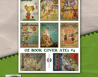 Oz Book Cover ATC Sheet #4, Vintage Printable, Instant Download, Childrens Book Illustration, Storytime, Wizard of Oz, Fairy Tales