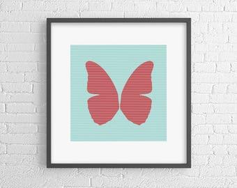 Red butterfly - pop art poster