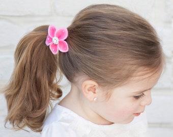 Jeweled Felt Flower Ponyholder, felt flower,girls ponyholder,toddler hairties,felt hair accessory,cute party favor,rhinestone flower