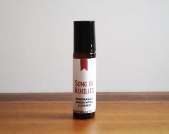 SONG OF ACHILLES / Pomegranate Sandalwood & Cypress / Book Inspired / Modern Classics Collection / Roll-On Perfume Oil
