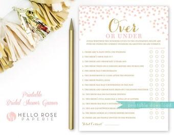 Over or Under . Printable Bridal Shower Game . Wedding Shower Game . Pink and Gold Bridal Shower Games . Instant Download . Hen Party Game