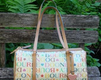 Vintage Dooney & Bourke Coated Canvas Leather Stars/Hearts Satchel Bag
