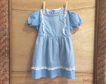 Vintage Girls Blue Dress/ Blue Pinafore Dress/ Vintage Girls Dress/ Vintage Blue Dress/ Vintage Baby Dress