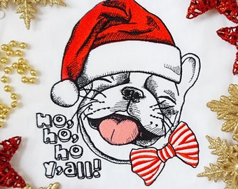 Machine Embroidery Design Christmas French bulldog