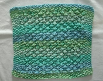 Hand Knit Cotton Dishcloth - measures approximately 9x10 inches