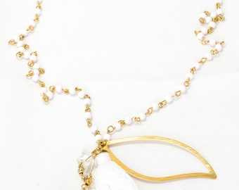Long necklace with crystal stars and gold plated pendant