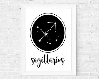 Zodiac sign constellation horoscop star sky sleep deco room kid baby nursery print download instant poster