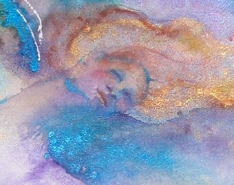 Goddess Painting, Abstract painting, Watercolor painting, 5 x 7 Giclee print, Nude figure, woman with wings, nude woman, Goddess art,