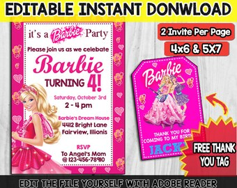 Barbie Invitation, Barbie Birthday Invitation, Barbie Party Invites, Barbie Invitation Instant Download, Girl Invitation, Barbie Thank Card