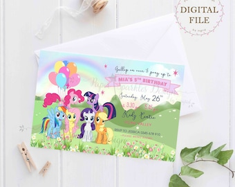 Personalised Pony Cartoon Birthday Invitation