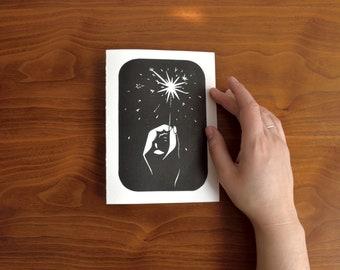 Greeting card handprinted flare - Hand-printed greeting card light Bengal