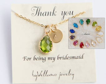 Bridesmaids necklace, personalized gift birthstone initial necklace, gold filled, teardrop pendant, monogram jewelry, mother, sister gift