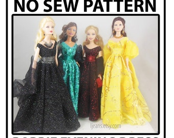 No Sew 11 in Barbie Doll Evening Dress Pattern