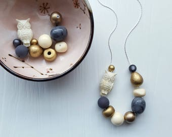 cashmere moon necklace - owl, bird, gold, cream - remixed vintage beads - choose your own chain