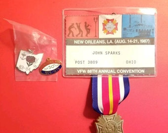 Vintage 1980s VFW Charms one MIP 1975 1983-84 and Name Tag with plastic medal