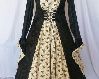 Gothic Hooded Spider Dress Gothic Gown, Halloween costume, Halloween wedding, Gothic hooded dress, custom made to any size
