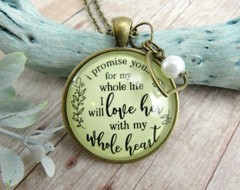 Mother-In-Law Necklace Keychain Bride's Mom I Promise You I Will Love Her Rustic Pendant Gift From Groom Wedding Day Jewelry Keepsake Card