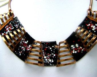 VINTAGE REBAJES NECKLACE: Francisco Rebajes copper enamel necklace.Rebajes enamel vintage  antique necklace Vintage rebajes.