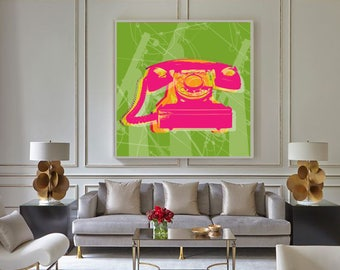 Rotary phone Pop Art poster - giclee on canvas