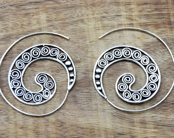 Spiral Earrings, Tribal Earrings, Silver Earrings, Hoop Earrings, Gypsy Earrings, Silver Hoops, Boho Earrings, Silver Hoop Earrings