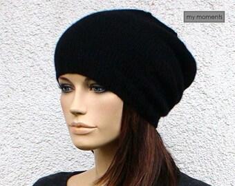 KNIT CAP / HAT Merino / Cashmere black slouch