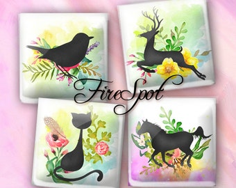 Animal Cat Dog Bird Deer flowers - Digital Collage Sheet 1.5 inch 1 inch 25 mm 20 mm Squares Instant Download Glass Pendants Scrapbooking