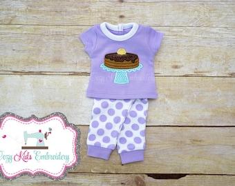 Pancake Doll pajamas, Pancake doll pj, Doll pajamas, doll pj, applique embroidery monogram custom name pjs
