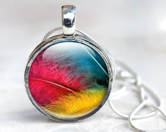 Picture Pendant wearable art Feather Necklace Primary Colours Red Yellow and Blue Pendant Necklace with silver chain - Wearable Art