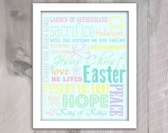 Easter Subway Art - Easter Home Decor - Easter Printable - Instant Download - Subway Art Home Decor - Pastel Colors Decor - Christian Art