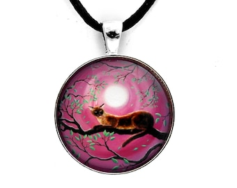 Burmese Cat Necklace Zen Tree Branches Pendant Pink Moon Chocolate Sable Cat in Moonlight Boho Bohemian Art Handmade Jewelry Fantasy Night