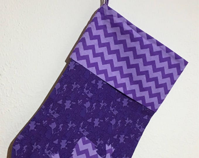 TCU Stocking purple with purple chevron and horned frog appliqué Christmas Stocking RTS TCU Christmas tcu Decor