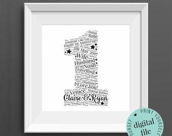 Personalised 1st ANNIVERSARY GIFT - Word Art - Printable - 1st Wedding Anniversary - Paper Anniversary - 1 Year Anniversary - Print