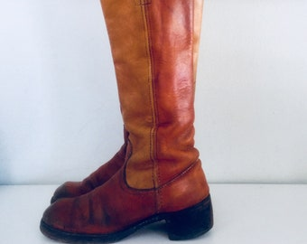 70s Frye Leather Campus Boots Frye Black Label Round Toe Made in USA 6.5 1/2 36 37