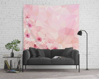 Abstract Tapestry Colorful Tapestry Wall tapestries Pink tapestry Geometric art tapestry Floral Tapestry Triangle Low Poly Tapestry