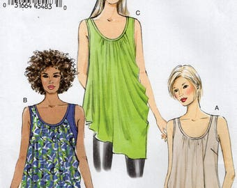 Free Us Ship Sewing Pattern Vogue 9005 Pullover Top Shaped overlay Size 4/14 16/26 Bust 29 30 31 32 34 36 38 40 42 44 46 48 Plus New